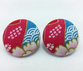 XL Button Studs available in normal ear studs or clip ons- Contrasting Pink And Blue Kimono Studs