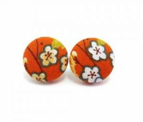 Medium Button earrings/Fabric Button Studs/Clip On Earrings -Japan kimono sakura On Orange Fabric
